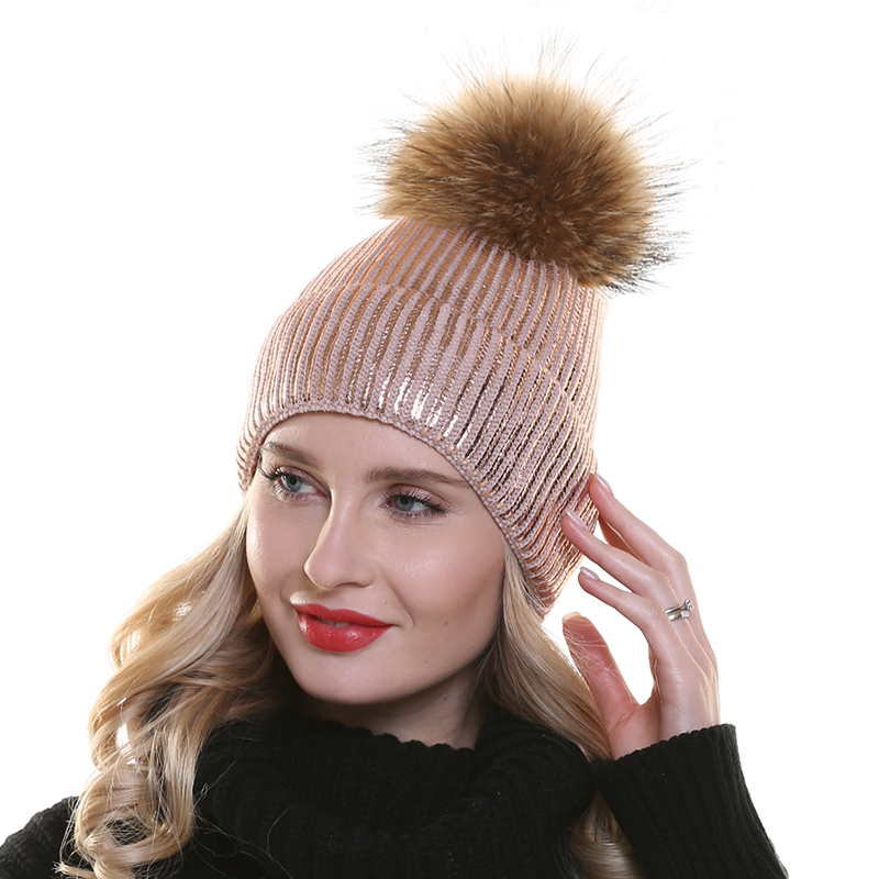 Winter Warm Hats For Women Pink Paint   Skullies     Beanies   For Ladies Real Raccoon Fur Pompom Hat Female Knitted   Beanie   Cap