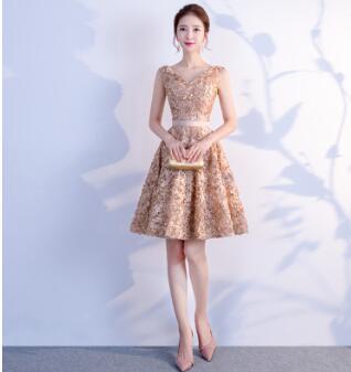 DongCMY Короткое Сексуальное мини коктейльное платье, элегантные вечерние платья на молнии больших размеров - Цвет: Шампанское