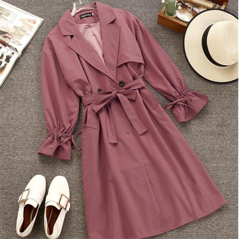 2018 Autumn Coats Ruffle Cuff Coat Elegant Coats for Women Long Sleeve Ladies Spring