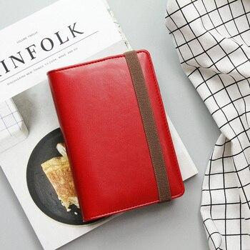 Koreański Vintage Retro Osobiste Macaron Faux Leather Bandaża Segregator Organizer biznesowy Notebook Diary Planner Agenda A5 A6