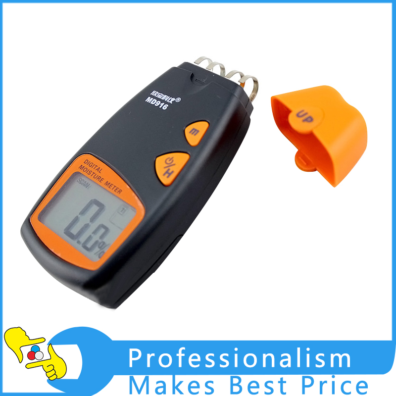 MD916 Portable Digital 4 Pins Paper Moisture Meter tester 2%-40% mc 7806 digital moisture analyzer price with pin type cotton paper building tobacco moisture meter