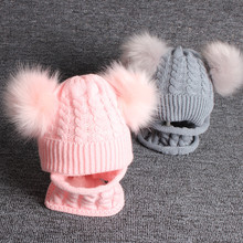 Baby Hat Pompon Winter Scarf Children Knitted Cute Cap For Girls Boys Casual Solid Color