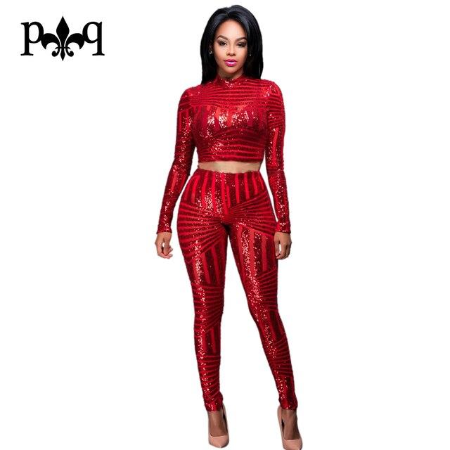 Mujeres Lentejuelas Mono Night Club Bodycon Crop Top de Manga Larga Y Pantalones largos 2 Unidades Mamelucos Flaco de Las Mujeres Atractivas Negro Oro Rojo