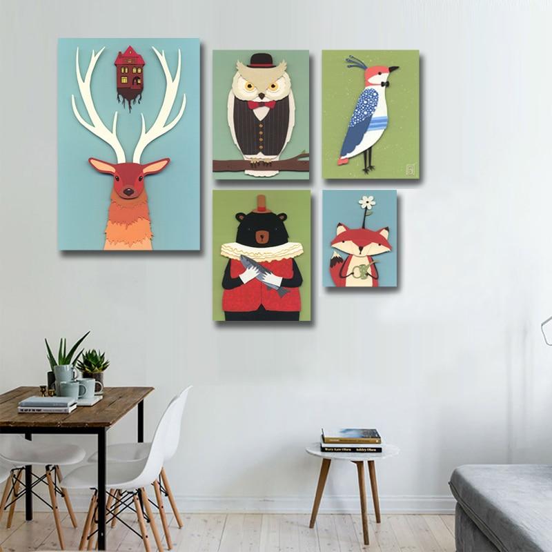Cute Amimals Nordic Poster Wall Art Prints Wall Canvas ...