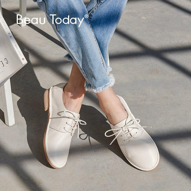 BeauToday chaussures plates femmes bonne qualité bout rond à lacets en cuir de vache chaussures plates pour femme marque en cuir véritable Derby chaussures 24020