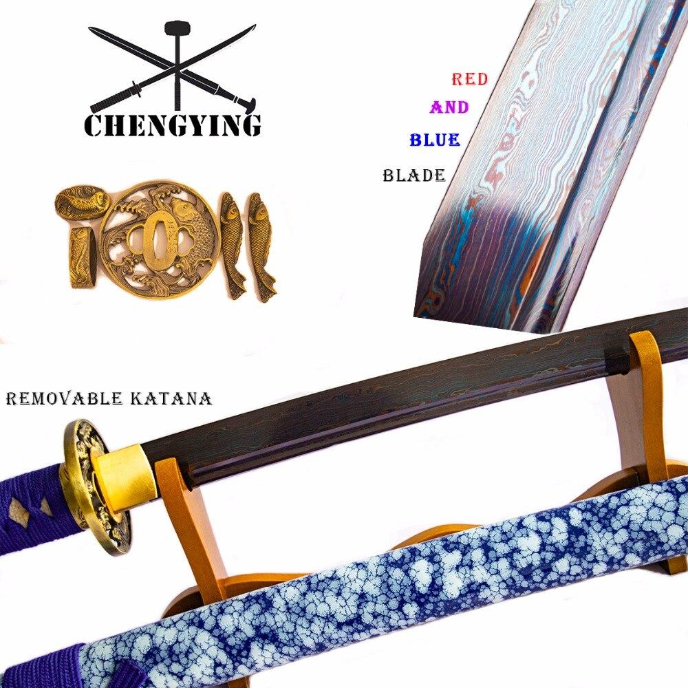 สีฟ้า Celadon Porcelain สไตล์ SAYA พับเหล็ก   quenching katana samurai combat readiness sharp-ใน ดาบ จาก บ้านและสวน บน   3