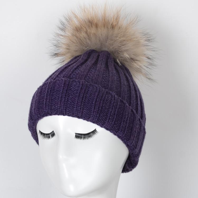 purple large fur pom poms hat -in Skullies   Beanies from Apparel  Accessories on Aliexpress.com  223b65efc2b