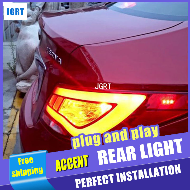 Car Styling for Hyundai Accent LED Taillight assembly 2011-2013 Solaris Tail Light Verna Rear Lamp DRL+Brake with hid kit 2pcs. accent verna solaris for hyundai led tail lamp 2011 2013 year red color yz
