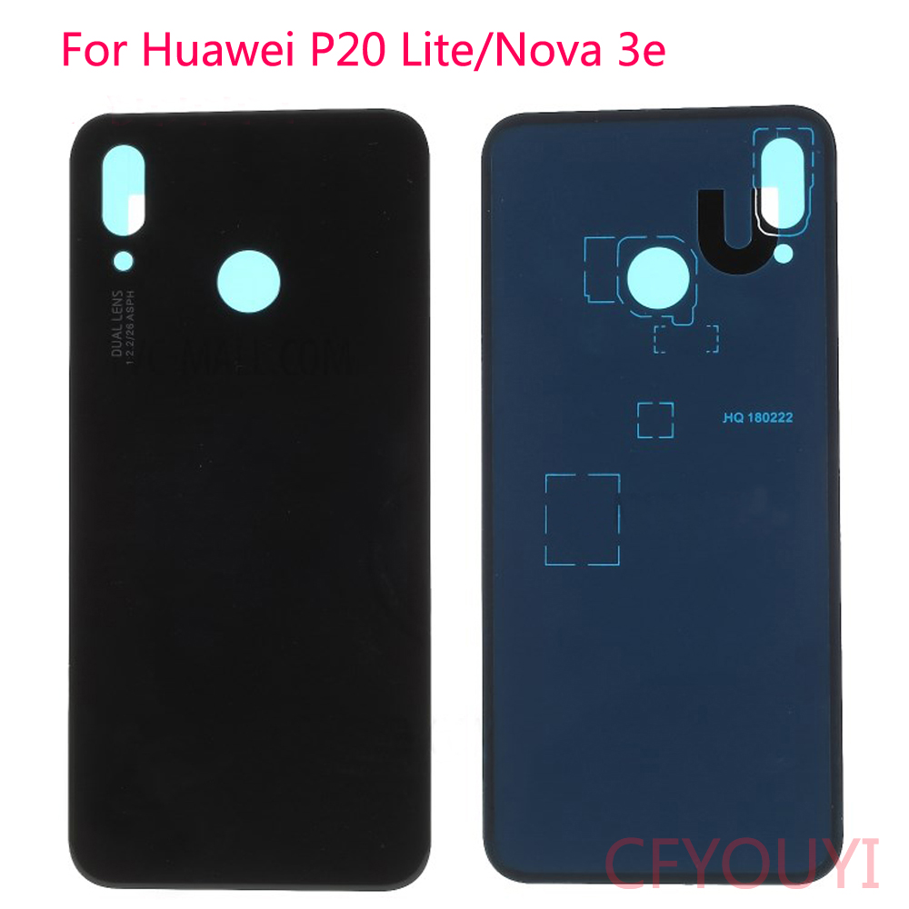 High Quality For <font><b>Huawei</b></font> <font><b>P20</b></font> Lite/Nova 3e <font><b>Battery</b></font> Door Back Housing <font><b>Cover</b></font> with Adhesive Sticker Replacement image
