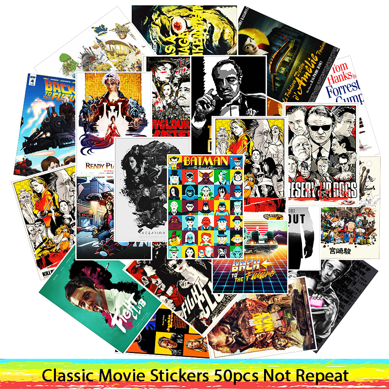 50Pcs/Lot Movie PVC Stickers Kill Bill/Reservoir Dogs/The Godfather/Fight Club/ For Motorcycle Skateboard Decal Toy Sticker