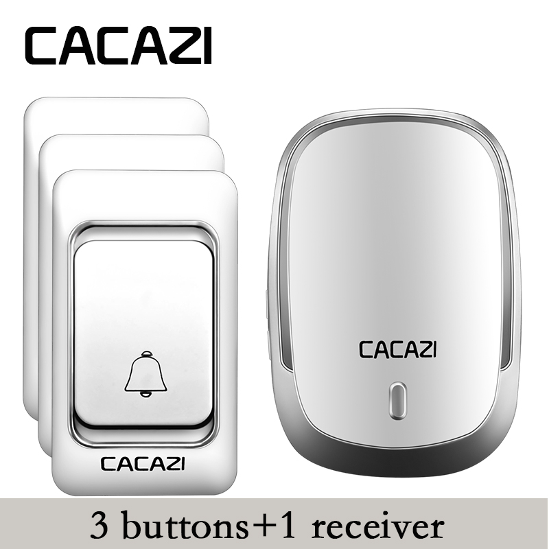 CACAZI High Quality Wireless Door Bell 3 transmitters+1 receiver DC battery-operated doorbell 200M remote 36 rings door chime  cacazi dc wireless doorbell need battery 150m remote waterproof gate door bell chime ring wireless 36 tunes 1 emitter 2 receiver