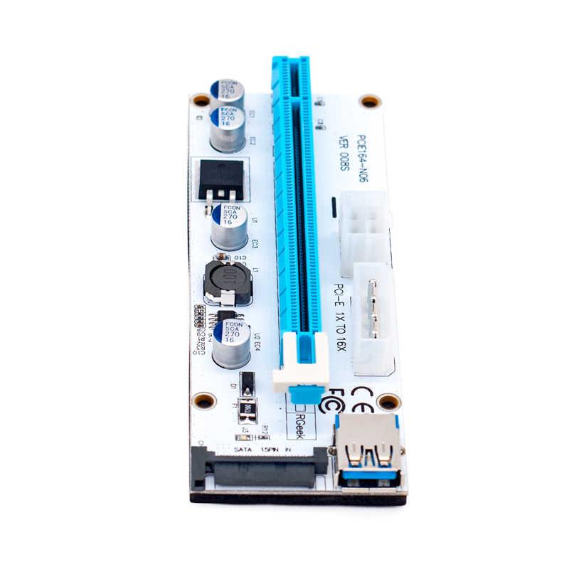 חדש לבן PCI-E Riser 008 אקספרס 1X 4x 8x 16x Extender PCI E Riser USB 008 s מתאם כרטיס SATA 15pin עבור BTC כריית כורה
