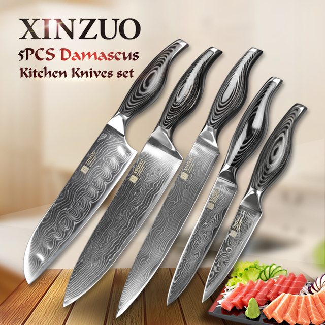 Great 5 Pcs Chef Knives Set 73 Layers Japanese VG10 Damascus Steel Kitchen Knife  Set Cleaver Chef