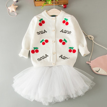 2017 New Arrival Baby Girls Sweaters Spring Autumn Clothing Cherry Cartoon Print Toddlers Clothes Children's Cardigans for 2-7Y