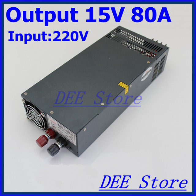 Led driver 1200W 15V(0V-16.5V) 80A Single Output  ac 220v to dc 15v Switching power supply unit for LED Strip light