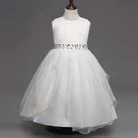 Kids Infant Girls Bow Petals Dress Children Bridesmaid Toddler Elegant Dress Pageant Wedding Bridal Tulle Formal Party Gown
