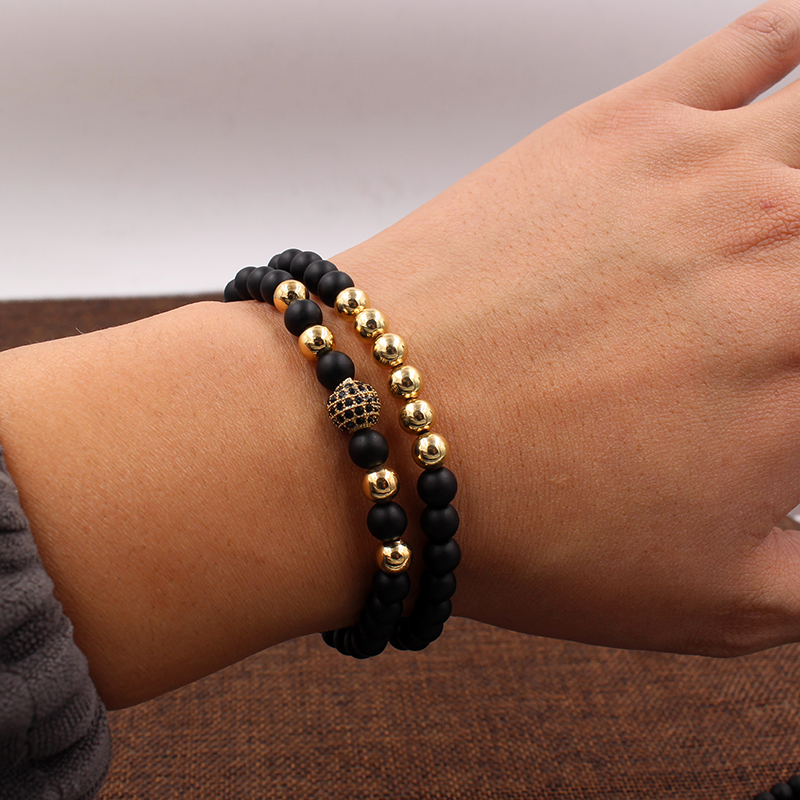 Fashion 2PCS/Set 6mm Black Matte Stone Copper Bead Bracelet Elastic Rope Bead CZ Ball,Leopard,Skull,Crown Bracelet For Men Women 5