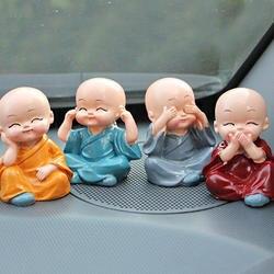 4 шт. автомобиля украшения дома комнаты милый мультфильм миниатюрные монахи микро пейзаж