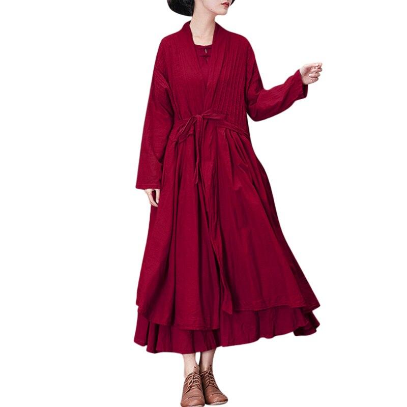Zanzea Elegant Women Lace Up V Neck Long Sleeve Long Cardigan Solid Cotton Linen Open Stitch Patchwork Party Loose Coat Jackets