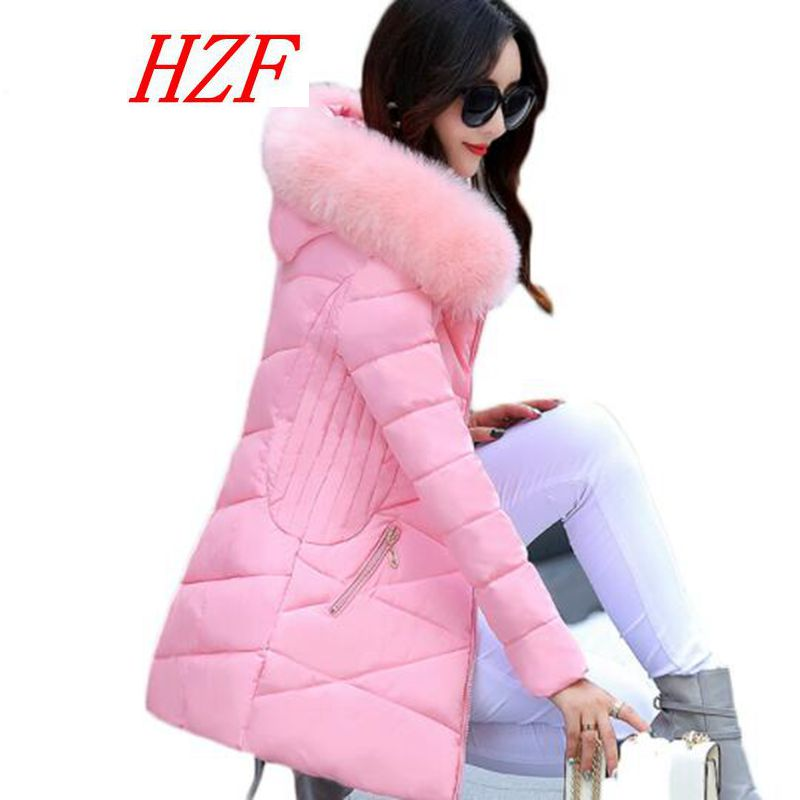 hzf Fur Collar Padded-Cotton Parkas Female Thicker Coats 2017 New Winter Jackets Medium-Long Hooded Overcoats Women Fashion coat  brand new 2015 men fur hooded cotton padded coats fashion winter women thicken jackets couples overcoats outerwear h4395