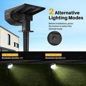 Image 4 - 4 パック litom 12 led ソーラーガーデンライトアップグレード IP67 防水ランプ屋外 2 照明モード 2 · イン · 1 調節可能なソーラースポットライト