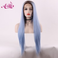 Aurica Straight Ombre Blue Heat Safe Synthetic Hair Lace Front Wig With Brown Roots For Women