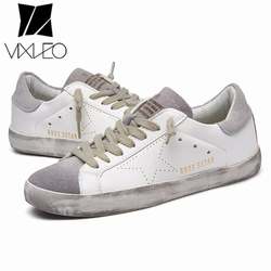 VIXLEO casual shoes Italy Golden Genuine Leather Casual Men Trainers Goose star shoes Breathe Shoes Footwear Zapatillas