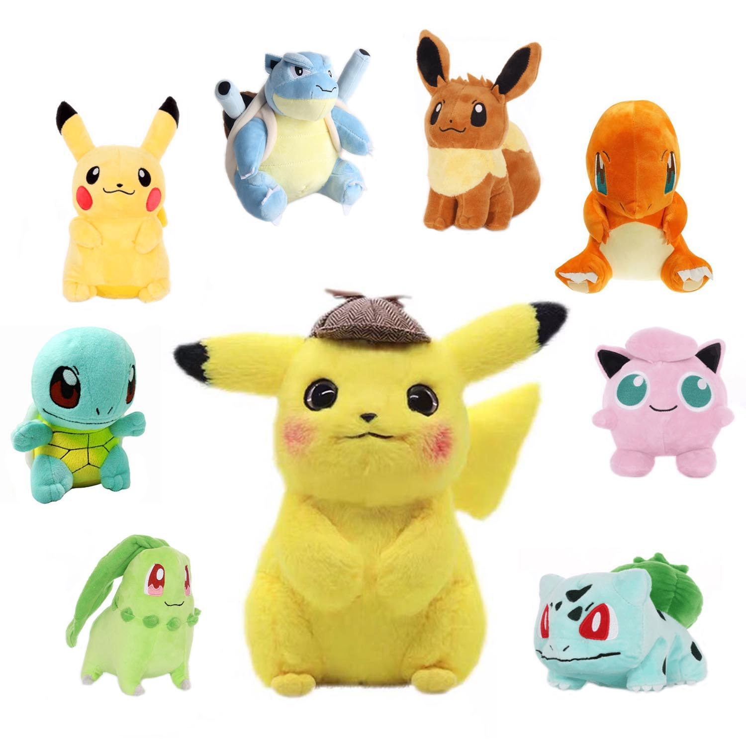 Detective Pikachu Psyduck Bulbasaur Mewtwo Charizard Plush Toys For Children Gift Cute Claw Machine Doll Soft Stuffed Movie