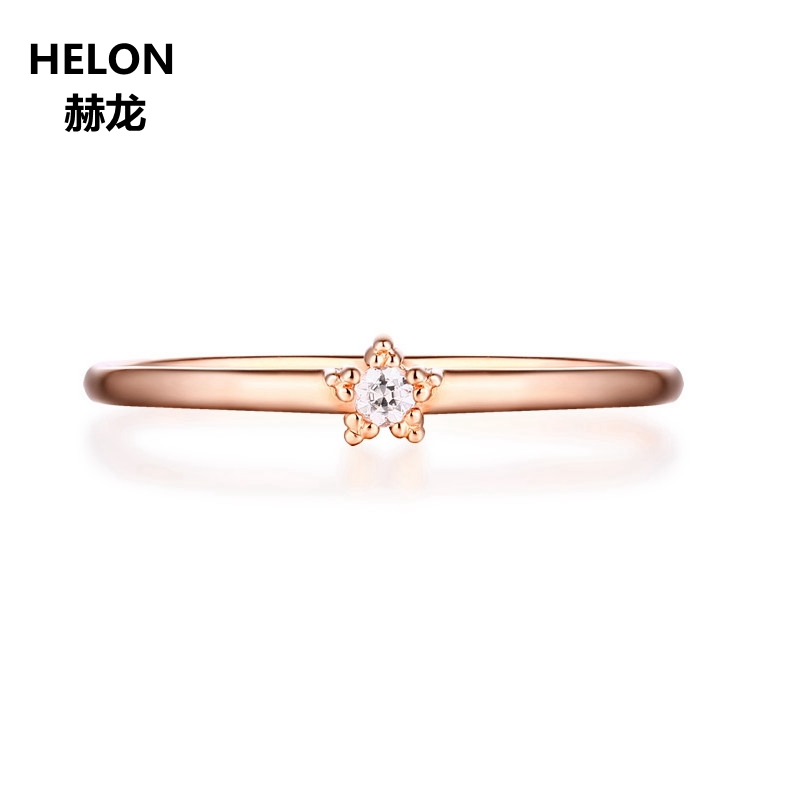 Solid 14k Rose Gold Round Cut SI/H Full Cut Natural Diamond Engagement Wedding Ring for Women Fine Jewelry solid 14k rose gold 4 5mm round cut natural morganite engagement ring si h full cut natural diamonds wedding ring fine jewelry
