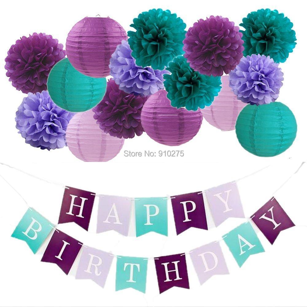 16PCS Purple Teal Party Kit Mermaid Wedding Birthday