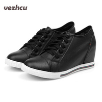 Fashion Women Shoes 6cm Height Increasing Genuine Leather Shoes Casual Wedge Shoes Lace Up Woman Cowhide