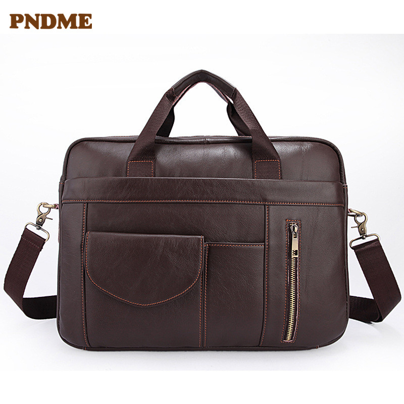 PNDME Business Genuine Leather Men's Briefcase Vintage Designer Soft First Layer Cowhide Laptop Bag Messenger Bags Handbags