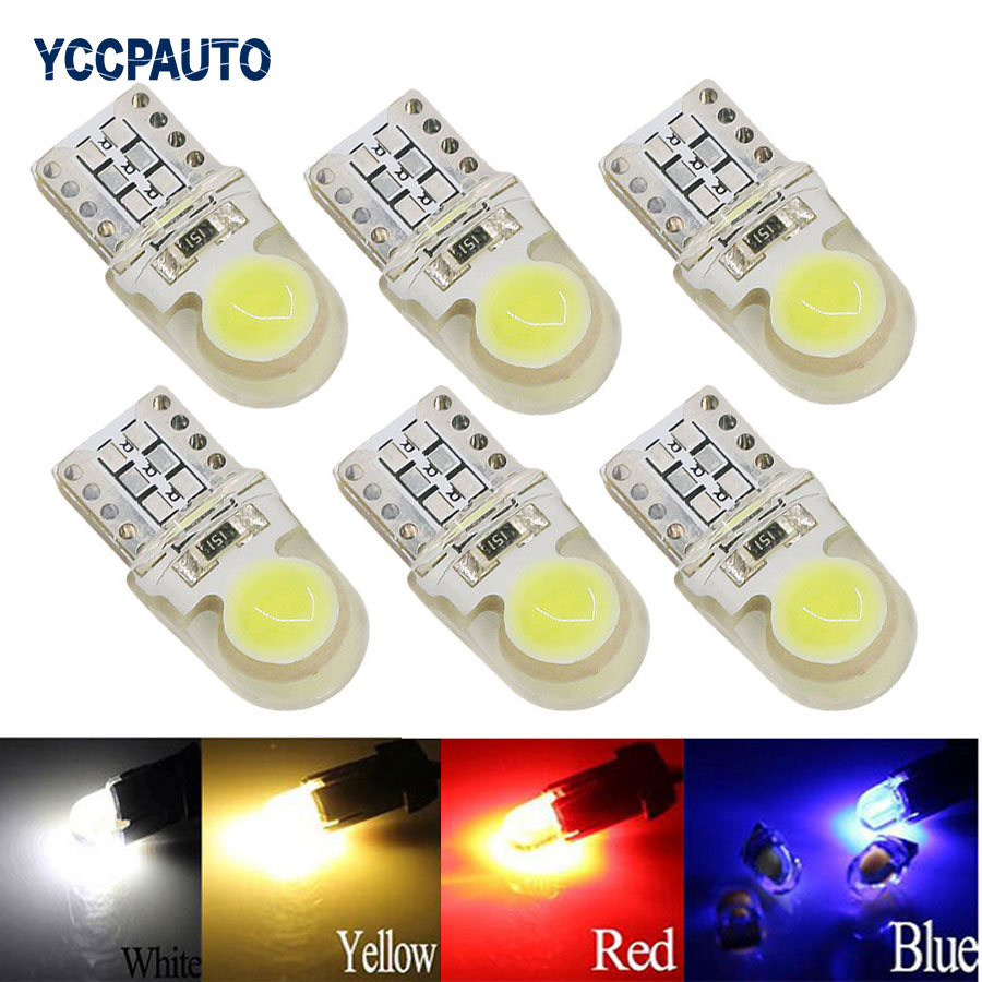 6Pcs Auto T10 LED W5W LED Bulbs White 194 168 LED Lamp 501 COB silicone shell Car LED Lights Super Bright Turn Side Light DC12V 4pcs super bright t10 w5w 194 168 2825 6 smd 3030 white led canbus error free bulbs for car license plate lights white 12v