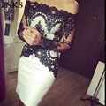 White And Black Lace Knee Length Seath Cocktail Dresses Off Shoulder Long Sleeves Boat Neck Short Party Dress Prom Gowns co-3
