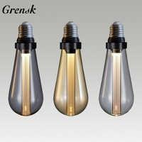 Ampoule LED E27 Edison Ampoule Guide de lumière Vintage lampe ST64 rétro nostalgique créatif 3W 85 V-264 V chaud fumée gris LED Buster ampoules