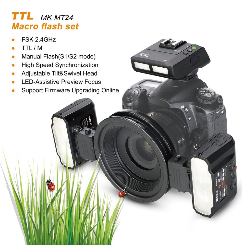 Meike MK MT24 Macro Double Lite 5500 K Flash pour Nikon D3400 D5300 D7200 D750 D5600 D3200 D7100 D3300 D7200 comme R1C1 DSLR Caméra