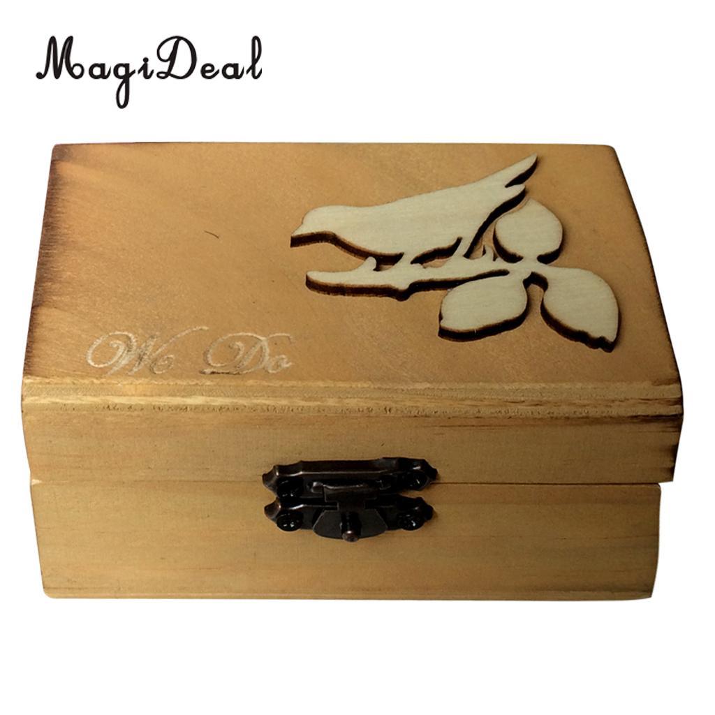 magideal vintage wedding ring bearer box mr mrs bride groom wood