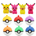 Comercio al por mayor mini pen drive de Pokemon Pikachu regalo pen drive 8 gb 16 gb 32 gb 64 gb de la historieta llavero Pokeball usb flash drive pendrive