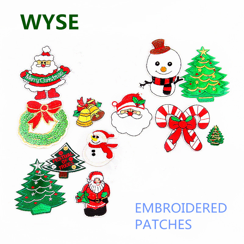 Christmas Tree Patch: Christmas Snowman Patches Tree Fabric Embroidered Clothes