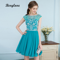 BeryLove Short Teal Homecoming Dresses 2018 Mini Beaded Chiffon Homecoming Dress Short Prom Party Dresses Graduation Dress