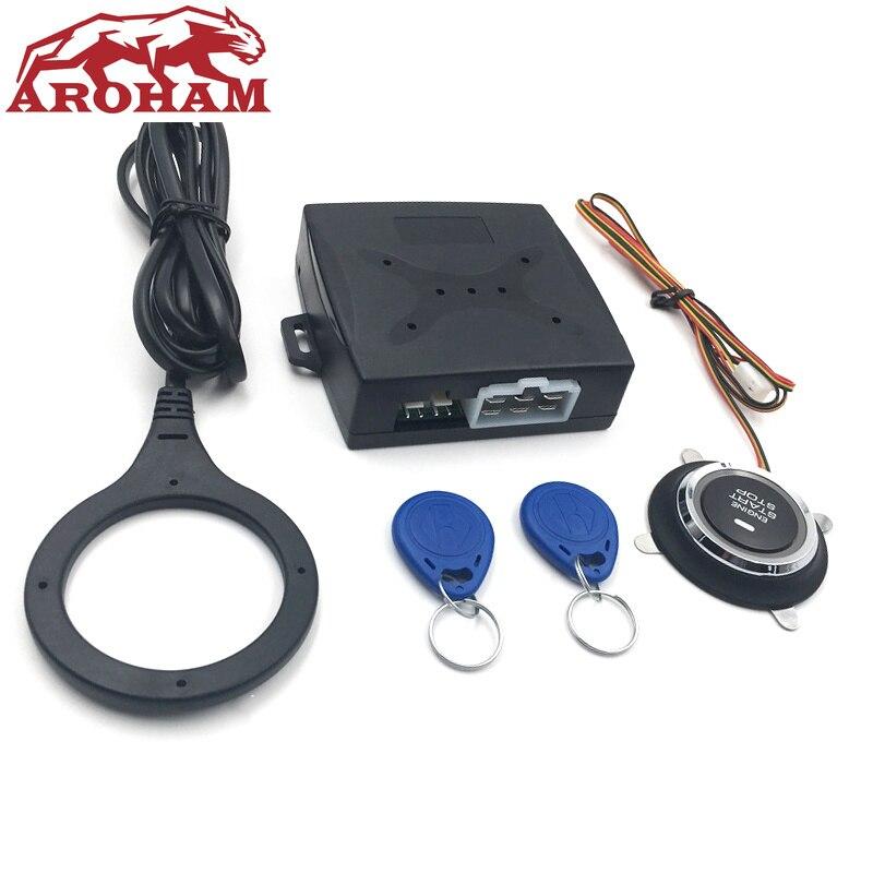 Bouton d'arrêt de démarrage de voiture bouton de démarrage par bouton d'alarme RFID serrure sans clé système de porte poussoir drukknop boutons tactiles style de voiture