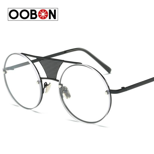 Oobon liga sem aro do vintage rodada óculos de sol das mulheres dos homens retro espelho steampunk círculo óculos de sol óculos de revestimento oculos de sol