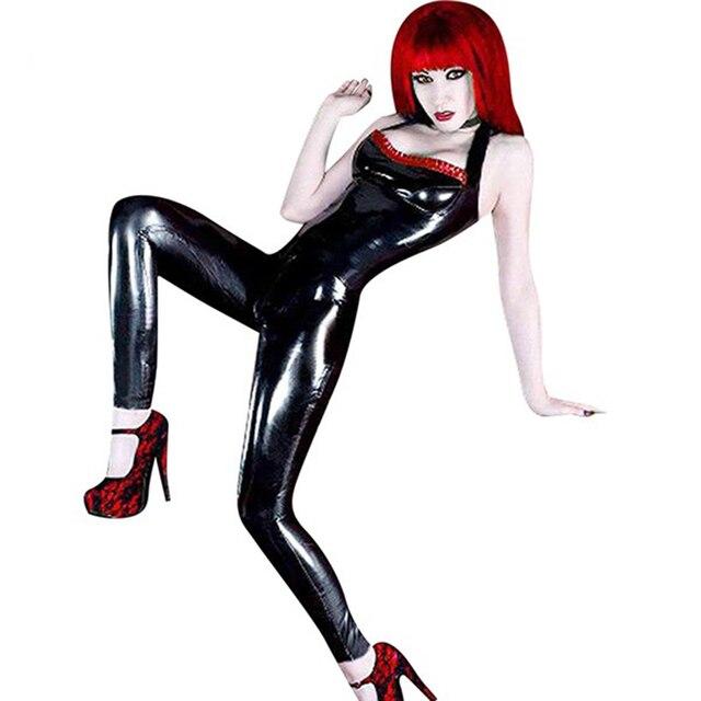 Negro Sin Tirantes Mono Traje de Vinilo Sexy Del Club Del Mono de Catsuit de Cuero de Imitación de la Moda de Señora Costume Wet Look vinilo romper W7908