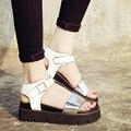 Estilo de Moda de Nova Gladiador verão Sandálias de Plataforma sapatos 2016 Das Mulheres De Couro Grossas de Salto Alto Verão das sandálias das mulheres Cunhas Sapatos