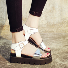 Summer style New Fashion Gladiator Platform Sandals shoes Women 2016 Leather Thick High Heels Summer women sandals Wedges Shoes