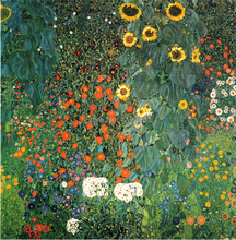 scenery landscape canvas paintings masterpiece reproduction Farm Garden with Sunflowers, c.1912  By Gustav Klimt недорого