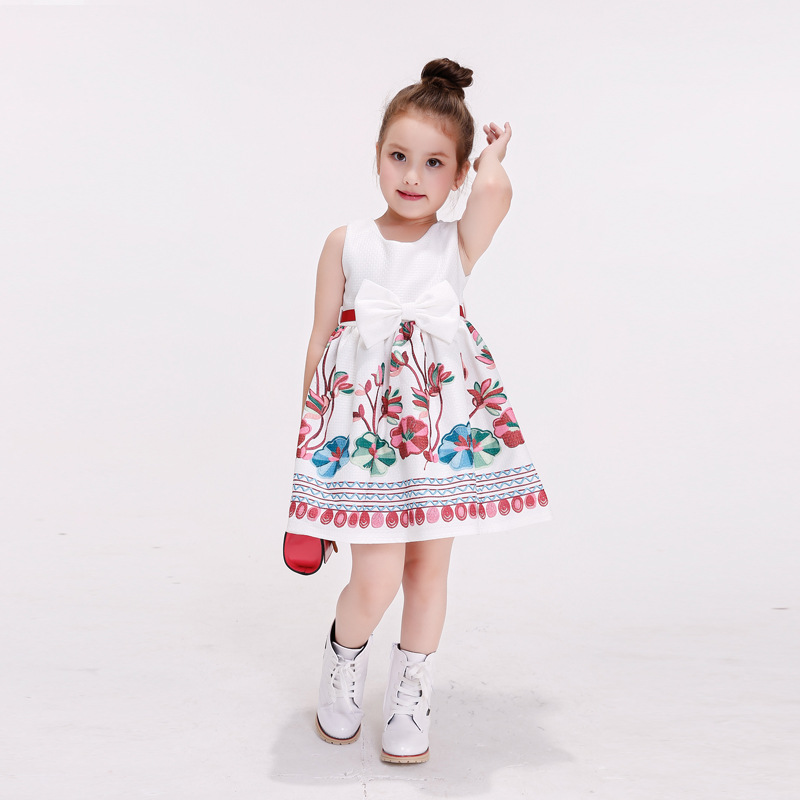 Baby Dress Infant girl dresses Print flower kids child Clothes fashion Princess Birthday party Dress for 3-7 year free shipping baby girl dress infant dot dresses