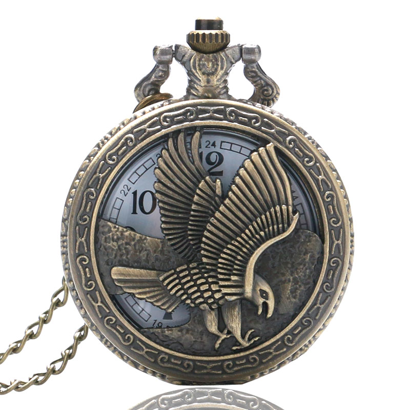 New Retro Bronze Half Hunter Quartz Pocket Watch Pendant Vintage Necklace Chain Eagle Hawk Wing Steampunk Cool Men Boy Gift