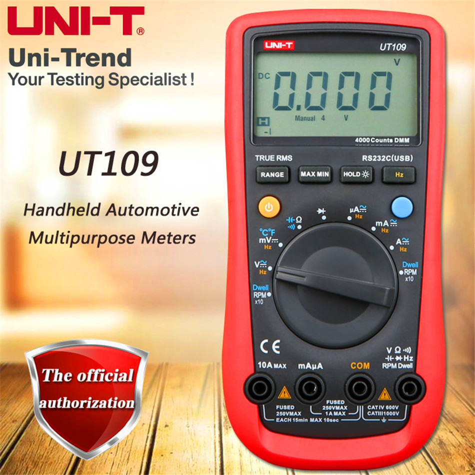 UNI-T UT109 Digital Automotive Multimeter Handheld Automotive Multi-Purpose Meters Ammeter Ohm Volt Hz Digital Universal Meter free shipping multimeter 830l handheld digital universal table with multi meter multimeter