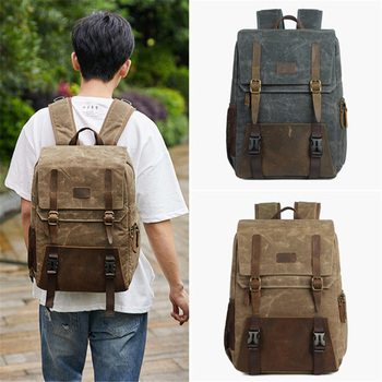Photo Batik Canvas Waterproof + Leather Camera Bag Backpacks Large Capacity Laptop Carry Bag For Digital Video Camera Travel Bag